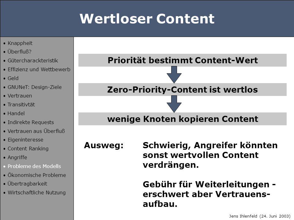 Wertloser Content Priorität bestimmt Content-Wert Zero-Priority-Content ist wertlos wenige Knoten kopieren Content Ausweg:Schwierig, Angreifer könnten