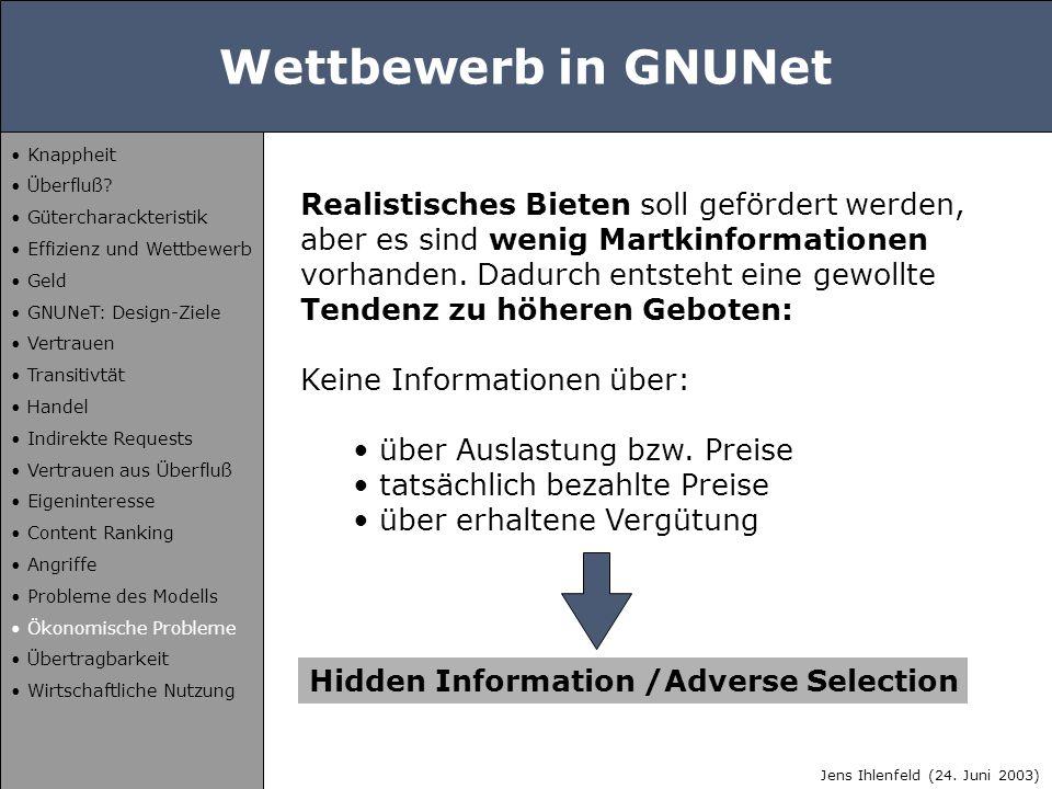 Wettbewerb in GNUNet Realistisches Bieten soll gefördert werden, aber es sind wenig Martkinformationen vorhanden. Dadurch entsteht eine gewollte Tende