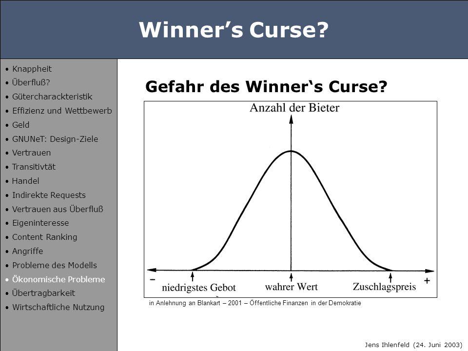 Winner's Curse? Gefahr des Winner's Curse? in Anlehnung an Blankart – 2001 – Öffentliche Finanzen in der Demokratie Jens Ihlenfeld (24. Juni 2003) Kna
