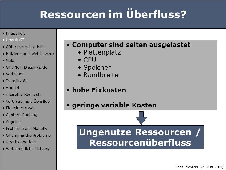 Ressourcen im Überfluss? Computer sind selten ausgelastet Plattenplatz CPU Speicher Bandbreite hohe Fixkosten geringe variable Kosten Ungenutze Ressou