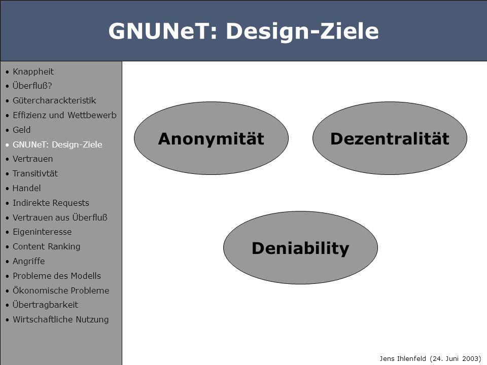 GNUNeT: Design-Ziele Anonymität Deniability Dezentralität Jens Ihlenfeld (24. Juni 2003) Knappheit Überfluß? Gütercharackteristik Effizienz und Wettbe