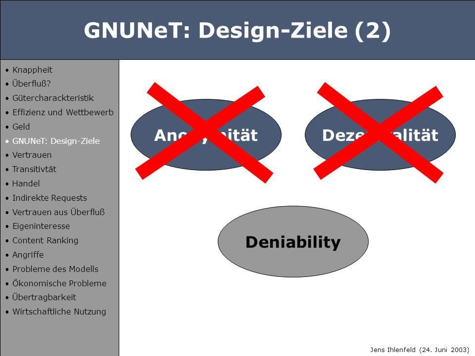 GNUNeT: Design-Ziele (2) Anonymität Deniability Dezentralität Jens Ihlenfeld (24. Juni 2003) Knappheit Überfluß? Gütercharackteristik Effizienz und We