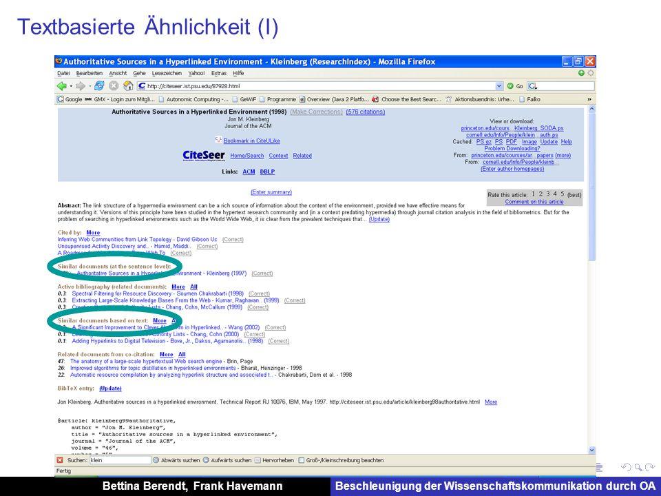 Bettina Berendt, Frank HavemannBeschleunigung der Wissenschaftskommunikation durch OA Textbasierte Ähnlichkeit (I)