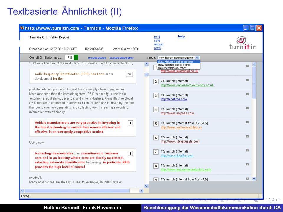 Bettina Berendt, Frank HavemannBeschleunigung der Wissenschaftskommunikation durch OA Textbasierte Ähnlichkeit (II)