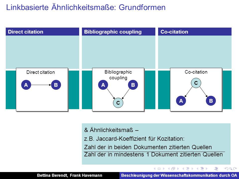 Bettina Berendt, Frank HavemannBeschleunigung der Wissenschaftskommunikation durch OA Nutzungs-basierte Ähnlichkeit (hier: community-basiert)