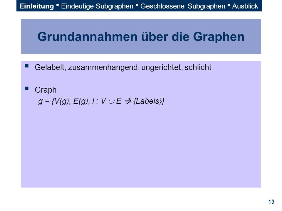 13 Grundannahmen über die Graphen  Gelabelt, zusammenhängend, ungerichtet, schlicht  Graph g = {V(g), E(g), l : V  E  {Labels}} Einleitung  Einde