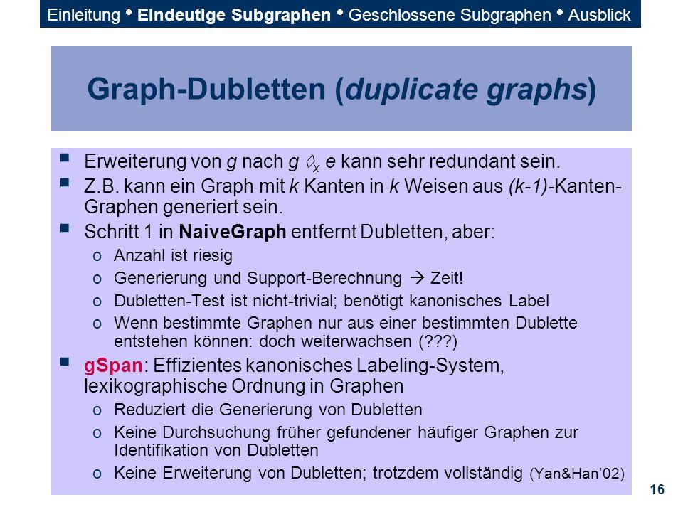 16 Graph-Dubletten (duplicate graphs)  Erweiterung von g nach g  x e kann sehr redundant sein.  Z.B. kann ein Graph mit k Kanten in k Weisen aus (k