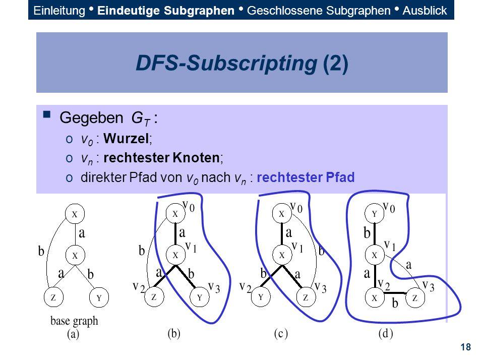 18 DFS-Subscripting (2)  Gegeben G T : ov 0 : Wurzel; ov n : rechtester Knoten; odirekter Pfad von v 0 nach v n : rechtester Pfad Einleitung  Eindeu