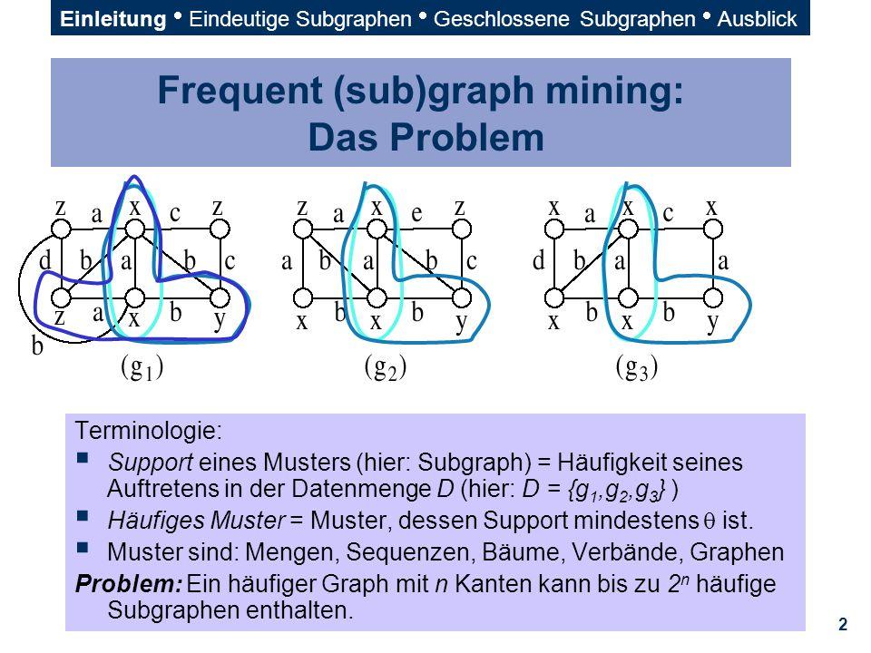 23 DFS-Lexikographische Ordnung (1)  Prioritäten für < :  T, Label von i, Kantenlabel, Label von j  Gegeben DFS-Codes  = (a 0, a 1, …, a m ) und  = (b 0, b 1, …, b n ) Wenn a 0 = b 0, …, a t-1 = b t-1, a t < b t (t  min(m,n)), dann  <   Im Beispiel:       Einleitung  Eindeutige Subgraphen  Geschlossene Subgraphen  Ausblick