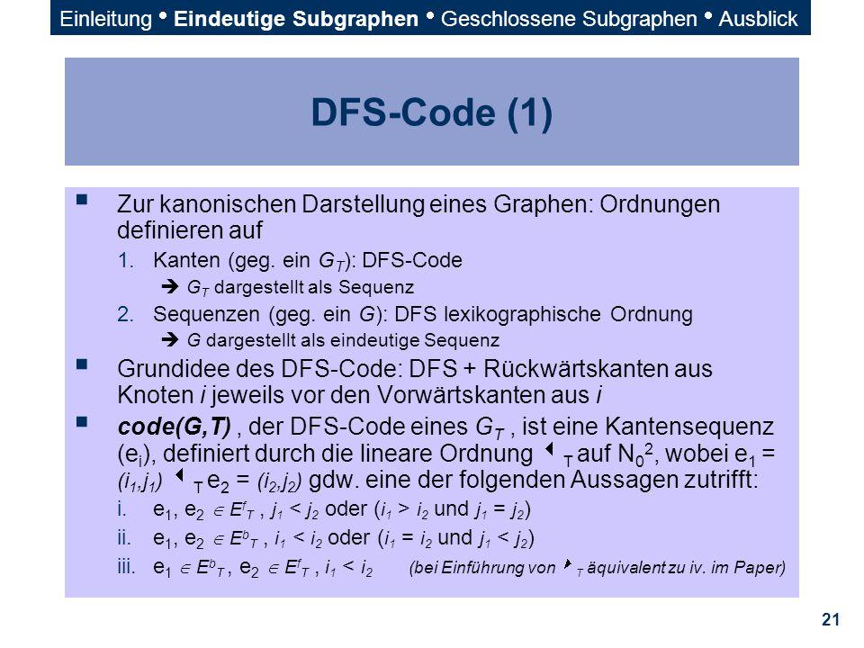 21 DFS-Code (1)  Zur kanonischen Darstellung eines Graphen: Ordnungen definieren auf 1.Kanten (geg. ein G T ): DFS-Code  G T dargestellt als Sequenz