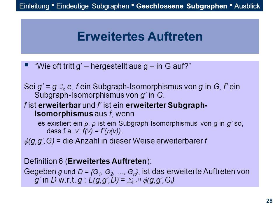 """28 Erweitertes Auftreten  """"Wie oft tritt g' – hergestellt aus g – in G auf?"""" Sei g' = g  x e, f ein Subgraph-Isomorphismus von g in G, f' ein Subgra"""