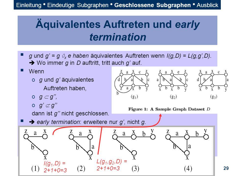 29 Äquivalentes Auftreten und early termination  g und g' = g  x e haben äquivalentes Auftreten wenn I(g,D) = L(g,g',D).  Wo immer g in D auftritt,