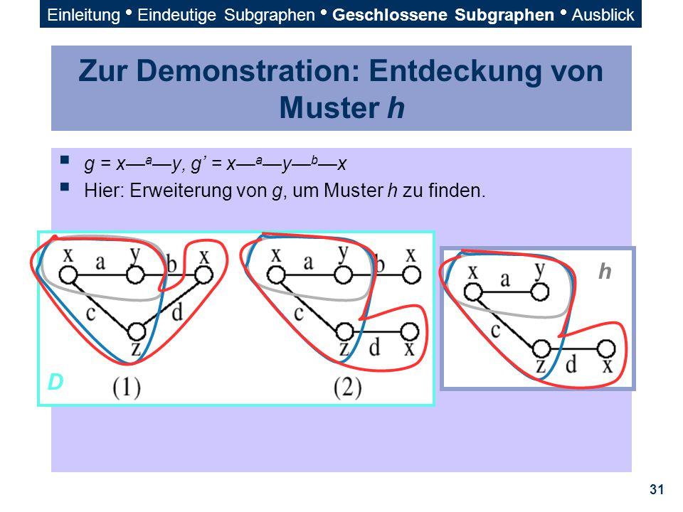 31 Zur Demonstration: Entdeckung von Muster h  g = x— a —y, g' = x— a —y— b —x  Hier: Erweiterung von g, um Muster h zu finden. h D Einleitung  Ein