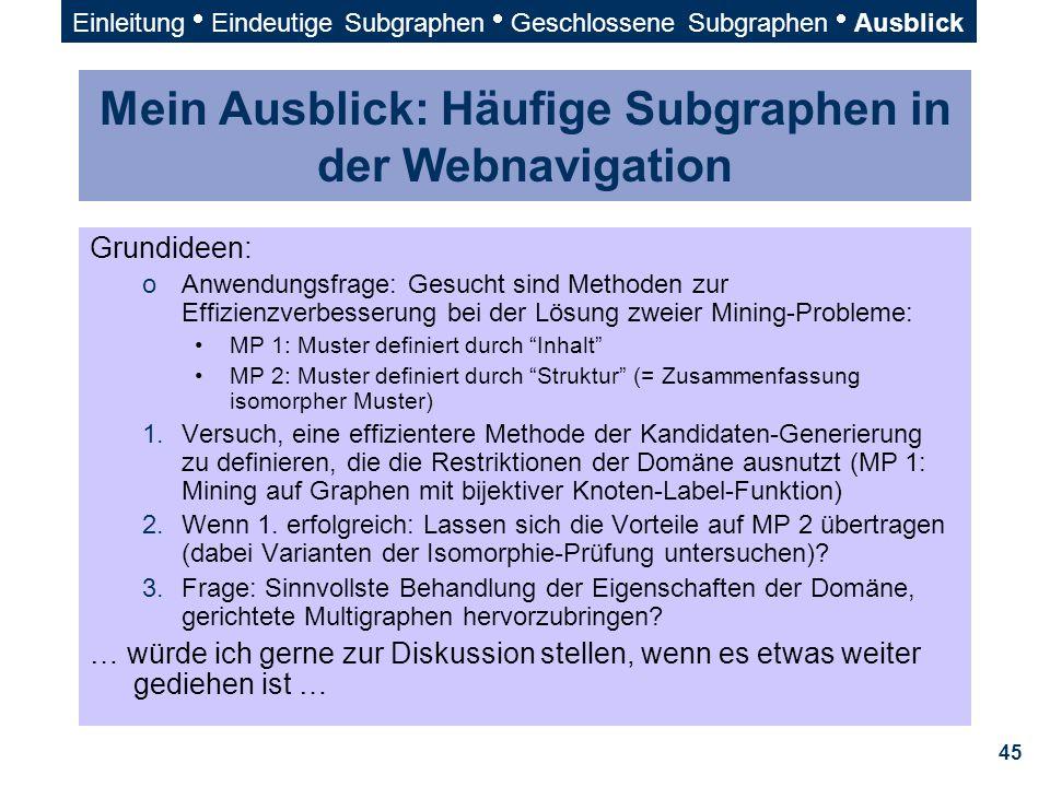 45 Mein Ausblick: Häufige Subgraphen in der Webnavigation Grundideen: oAnwendungsfrage: Gesucht sind Methoden zur Effizienzverbesserung bei der Lösung