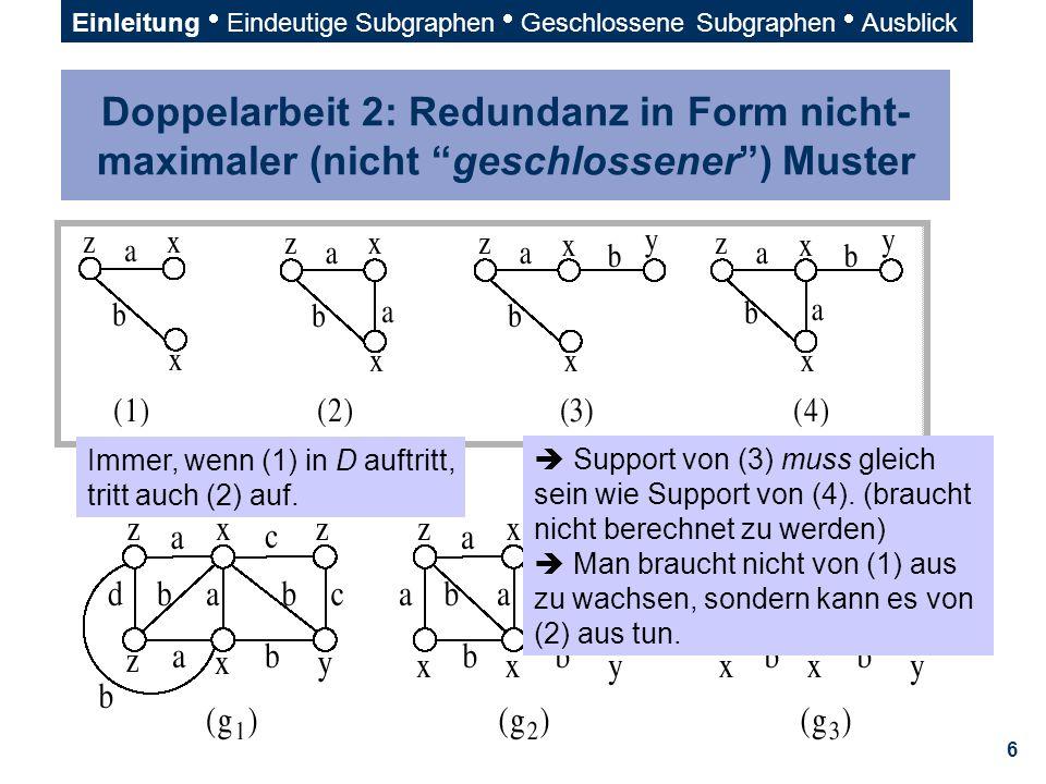 37 x–(a)—y x–(a)—y—(b)—xz—(c)—x–(a)—y z—(c)—x–(a)—y—(b)—xx—(d)—z—(c)—x–(a)—y x–(a)—y —(b)—x—(d)—z z—(c)—x–(a)—y—(b)—x d x—(d)—z—(c)—x–(a)—y—(b)—x Graph (1)Graph (2) g {z;z—(c)—x} {x;y—(b)—x} {x;x—(d)—z} {x;x—(b)—y} {z;z—(c)—x} {z;x—(d)—z} {z—(c)—x} {z—(d)—x} {y—(b)—x} {x;x—(d)—z} {x;y—(b)—x} Vorwärts-Erweiterung, Rückwärts-Erweiterung g' h2h2 h1h1 Einleitung  Eindeutige Subgraphen  Geschlossene Subgraphen  Ausblick Darstellung am Beispiel (Th.
