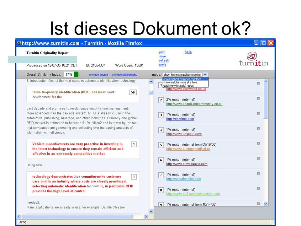 Kostenloser Test-Account bis Mitte September 2006 Genereller HU-Test-Account To start using Turnitin, go to http://www.turnitin.com and log in using the following temporary information: Email address: test.instructor@gmx.net Password: 2873vz3e ODER Eigener Account –Mail an berendt@wiwi.hu-berlin.deberendt@wiwi.hu-berlin.de –mit Name, Vorname, gültiger Email-Adresse Fragen an mich