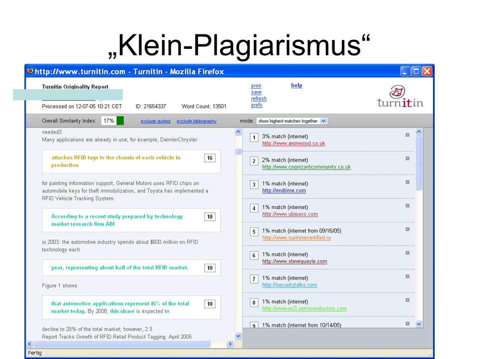 """""""Klein-Plagiarismus"""""""