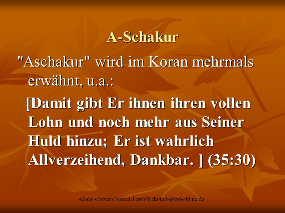 Allahs schönste Namen I erstellt für info@igd-online.de A-Schakur