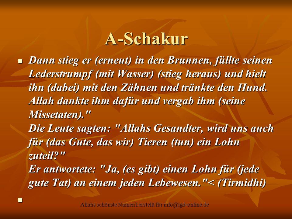 Allahs schönste Namen I erstellt für info@igd-online.de A-Schakur Dann stieg er (erneut) in den Brunnen, füllte seinen Lederstrumpf (mit Wasser) (stie
