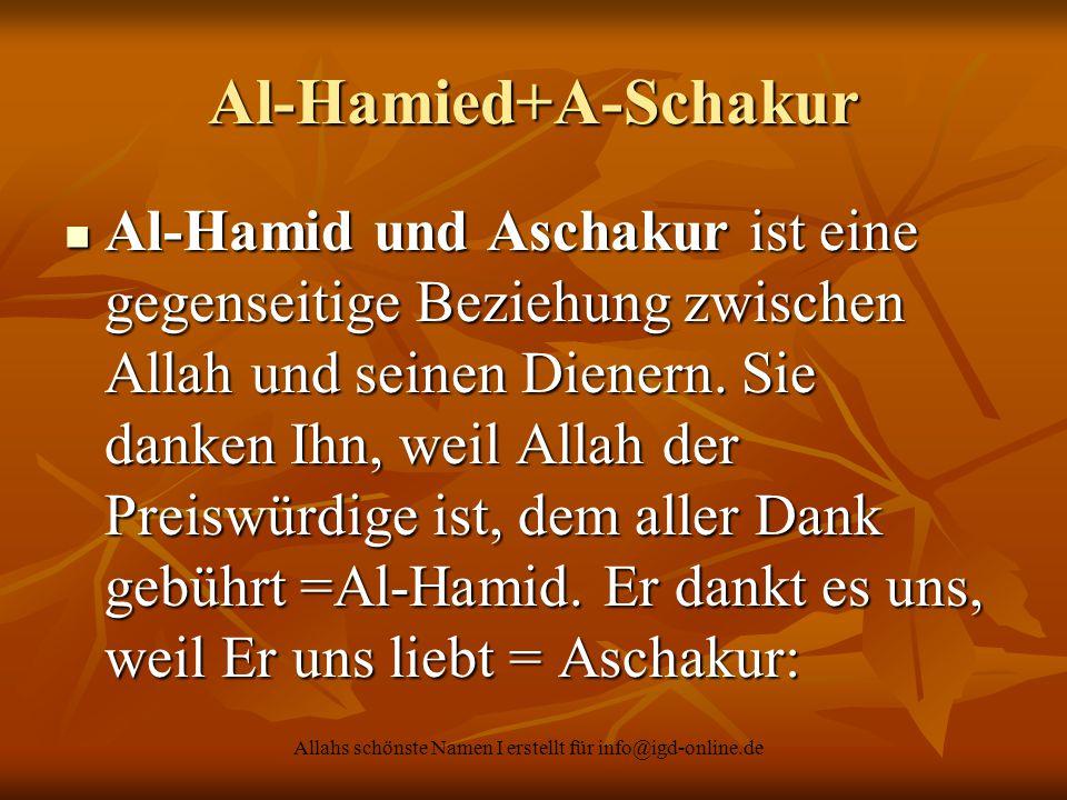 Allahs schönste Namen I erstellt für info@igd-online.de Al-Hamied+A-Schakur Al-Hamid und Aschakur ist eine gegenseitige Beziehung zwischen Allah und s