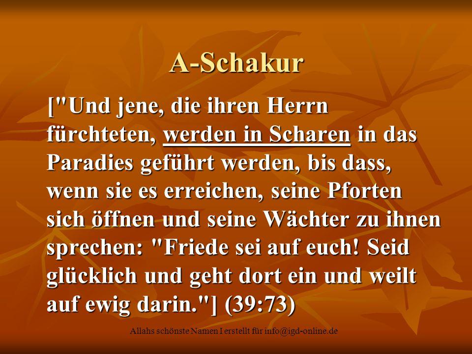 Allahs schönste Namen I erstellt für info@igd-online.de A-Schakur [