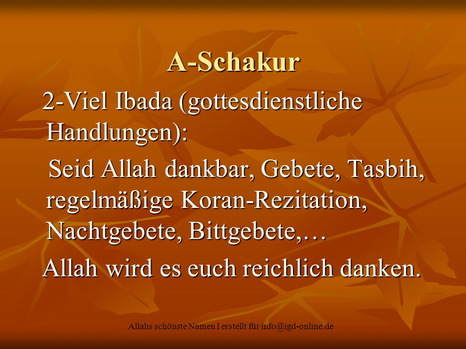 Allahs schönste Namen I erstellt für info@igd-online.de A-Schakur 2-Viel Ibada (gottesdienstliche Handlungen): 2-Viel Ibada (gottesdienstliche Handlun