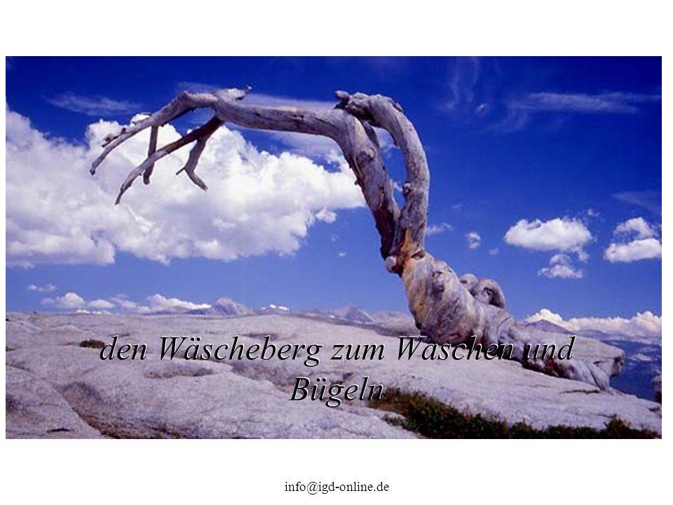 info@igd-online.de den Wäscheberg zum Waschen und Bügeln