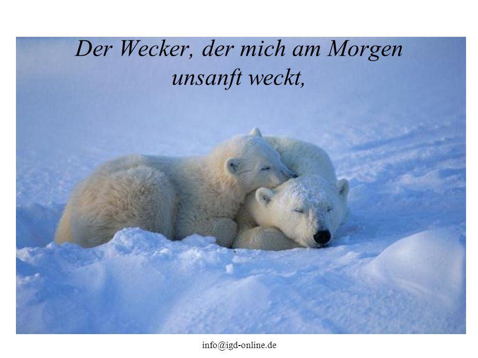 info@igd-online.de Der Wecker, der mich am Morgen unsanft weckt,