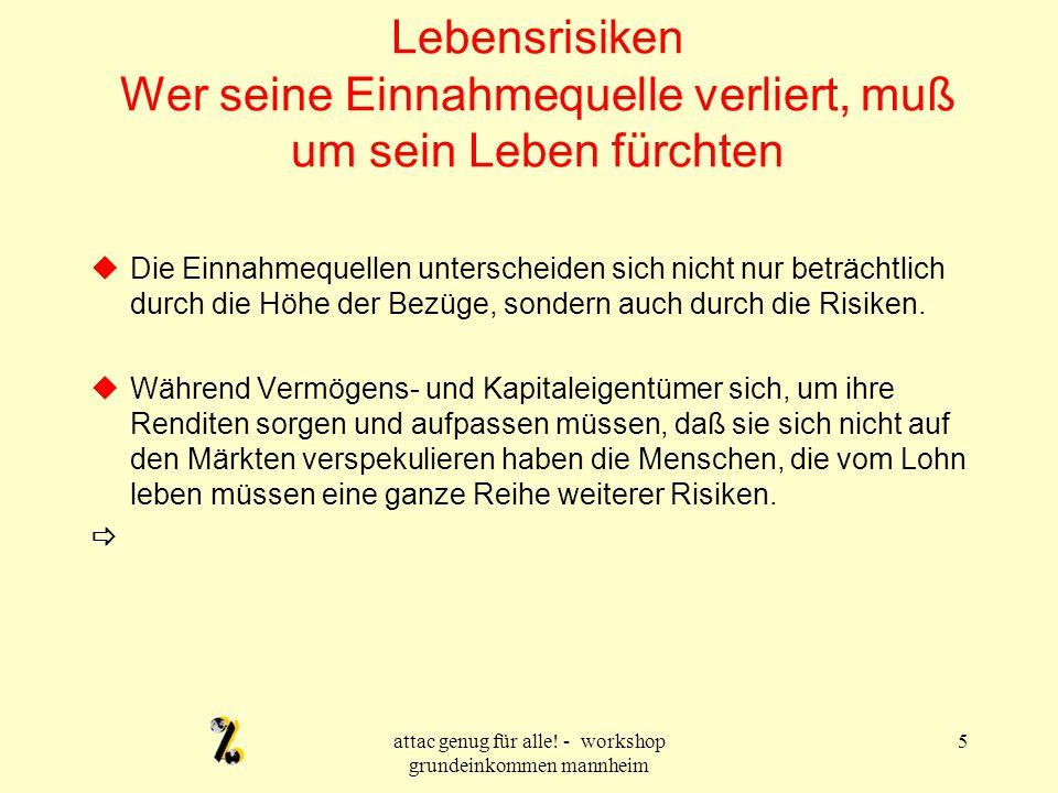 attac genug für alle.- workshop grundeinkommen mannheim 16 Wie hoch soll das Grundeinkommen sein.
