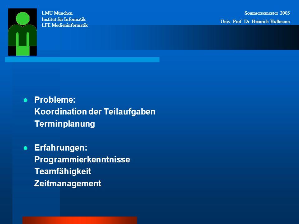 Probleme: Koordination der Teilaufgaben Terminplanung Erfahrungen: Programmierkenntnisse Teamfähigkeit Zeitmanagement LMU München Institut für Informatik LFE Medieninformatik Sommersemester 2005 Univ.-Prof.