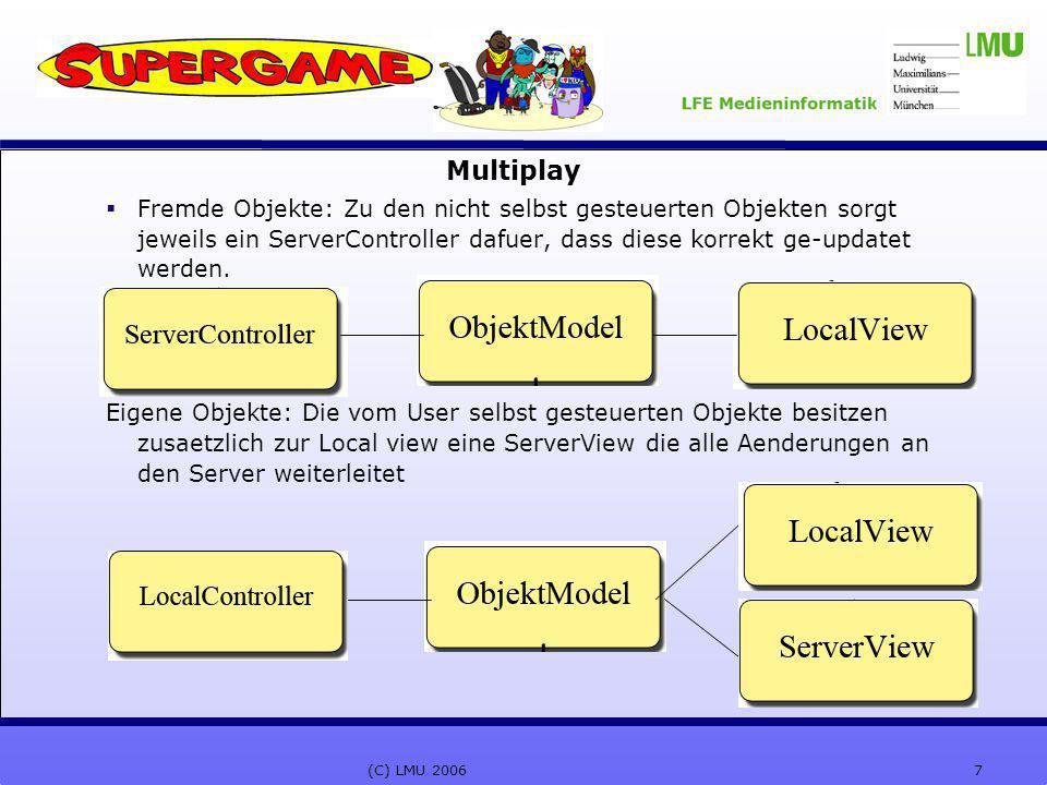 7(C) LMU 2006 Multiplay  Fremde Objekte: Zu den nicht selbst gesteuerten Objekten sorgt jeweils ein ServerController dafuer, dass diese korrekt ge-updatet werden.