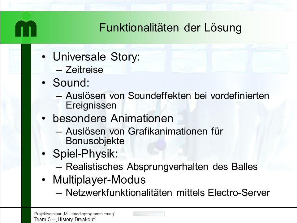 """Projektseminar """"Multimediaprogrammierung"""" Team 5 – """"History Breakout"""" Funktionalitäten der Lösung Universale Story: –Zeitreise Sound: –Auslösen von So"""