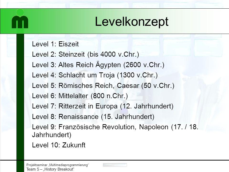"Projektseminar ""Multimediaprogrammierung Team 5 – ""History Breakout Level 1"