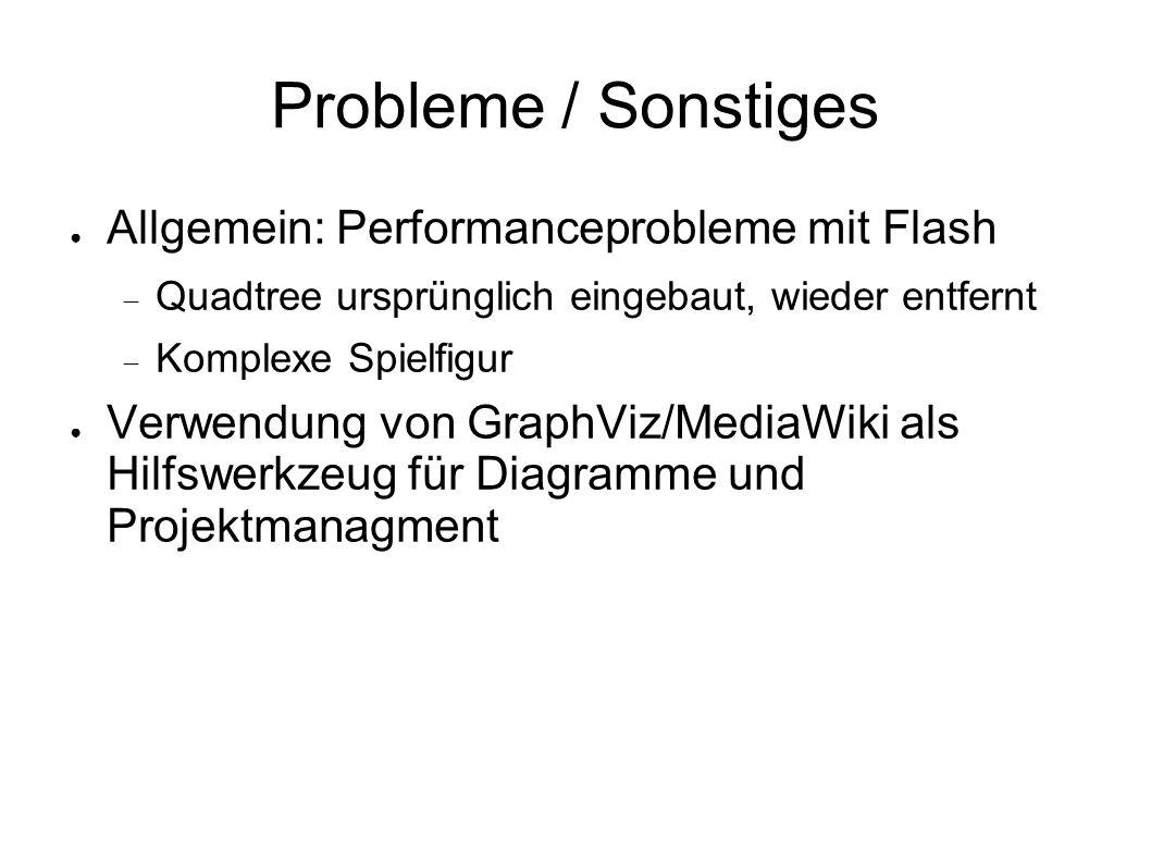 Probleme / Sonstiges ● Allgemein: Performanceprobleme mit Flash  Quadtree ursprünglich eingebaut, wieder entfernt  Komplexe Spielfigur ● Verwendung