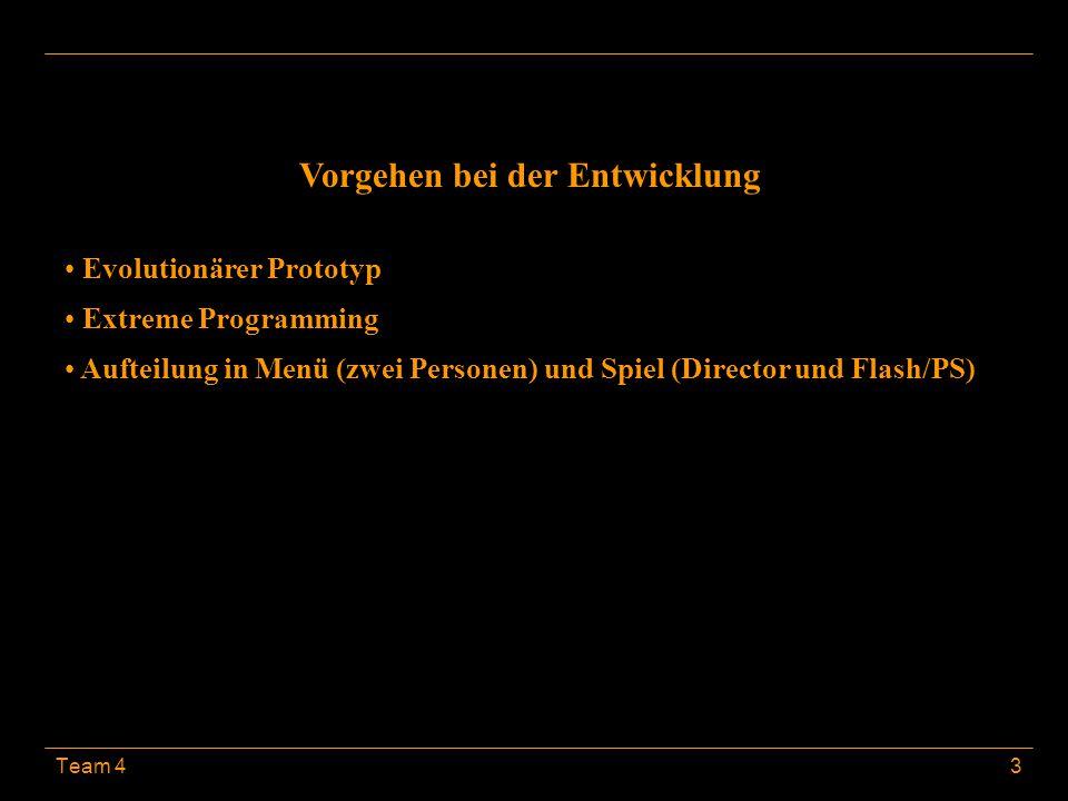 Team 43 Vorgehen bei der Entwicklung Evolutionärer Prototyp Extreme Programming Aufteilung in Menü (zwei Personen) und Spiel (Director und Flash/PS)