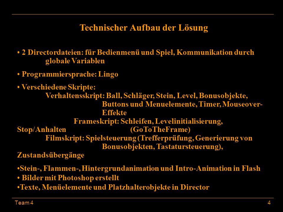 Team 44 Technischer Aufbau der Lösung 2 Directordateien: für Bedienmenü und Spiel, Kommunikation durch globale Variablen Programmiersprache: Lingo Ver
