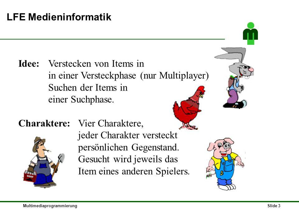 MultimediaprogrammierungSlide 3 LFE Medieninformatik Idee: Verstecken von Items in in einer Versteckphase (nur Multiplayer) Suchen der Items in einer