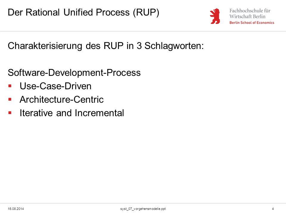 16.08.2014syst_07_vorgehensmodelle.ppt4 Der Rational Unified Process (RUP) Charakterisierung des RUP in 3 Schlagworten: Software-Development-Process 