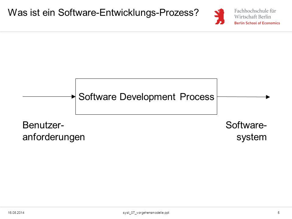 16.08.2014syst_07_vorgehensmodelle.ppt5 Was ist ein Software-Entwicklungs-Prozess? Software Development Process Benutzer- anforderungen Software- syst
