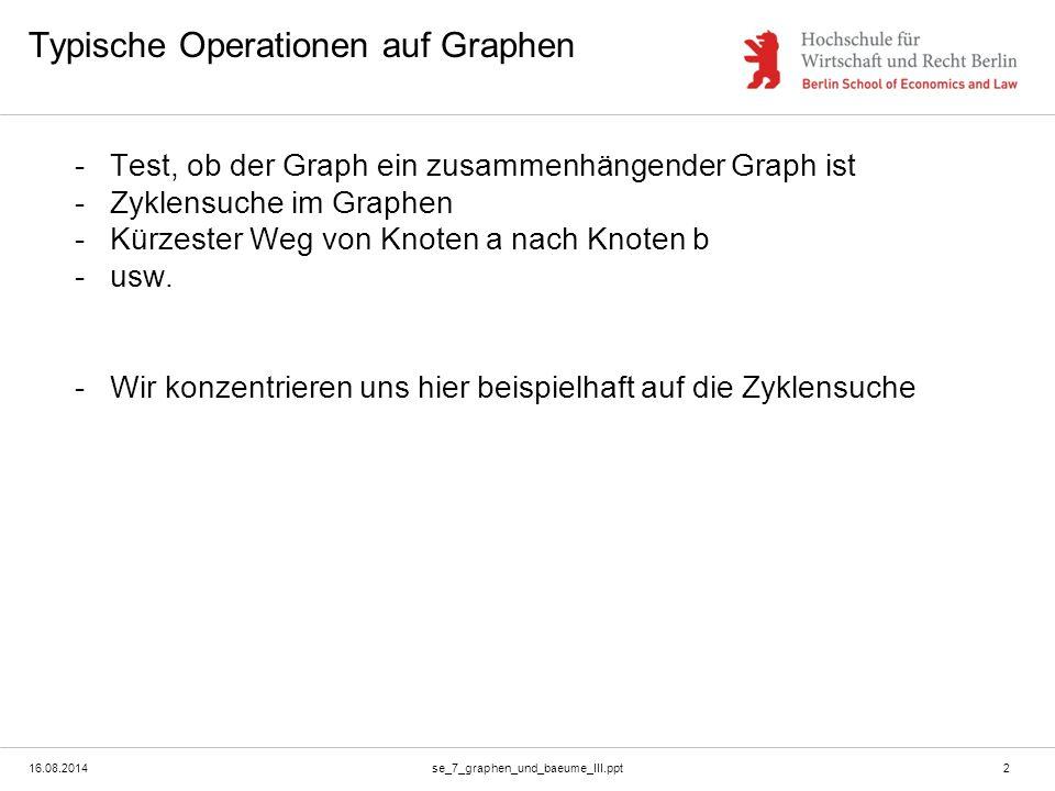 16.08.2014se_7_graphen_und_baeume_III.ppt2 Typische Operationen auf Graphen -Test, ob der Graph ein zusammenhängender Graph ist -Zyklensuche im Graphe