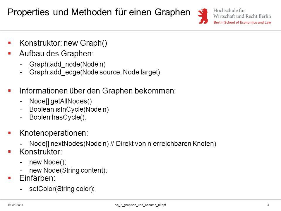16.08.2014se_7_graphen_und_baeume_III.ppt4 Properties und Methoden für einen Graphen  Konstruktor: new Graph()  Aufbau des Graphen: -Graph.add_node(