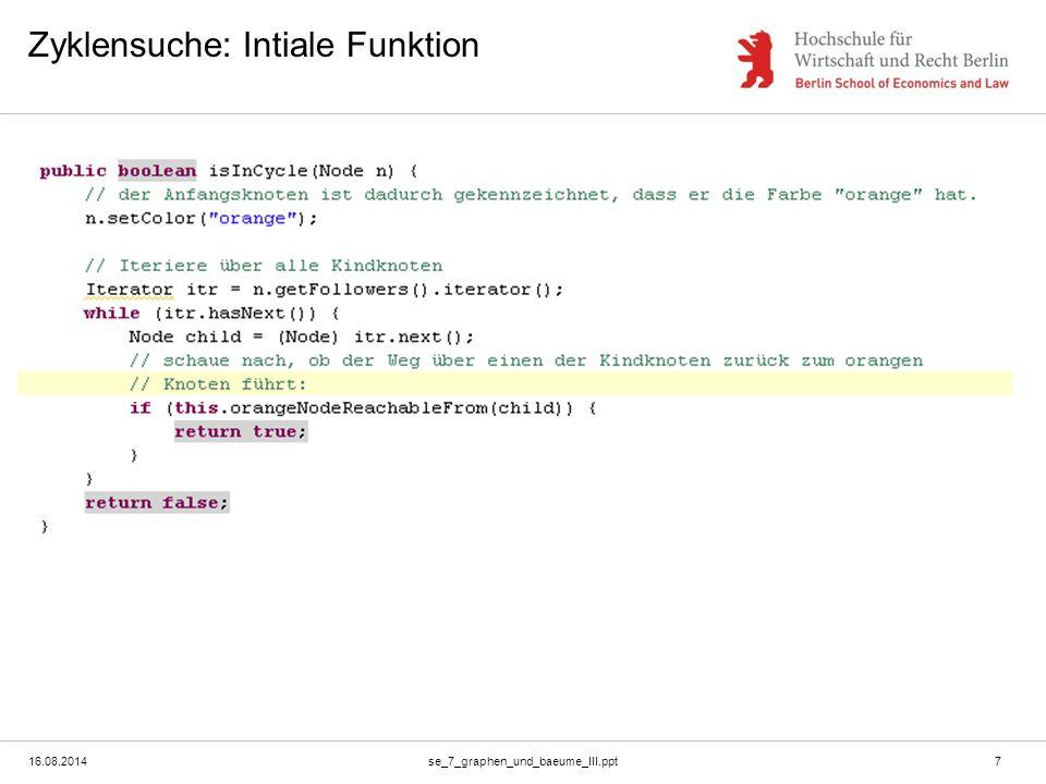 16.08.2014se_7_graphen_und_baeume_III.ppt7 Zyklensuche: Intiale Funktion