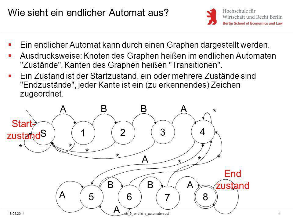 16.08.2014se_9_endliche_automaten.ppt4 Wie sieht ein endlicher Automat aus?  Ein endlicher Automat kann durch einen Graphen dargestellt werden.  Aus