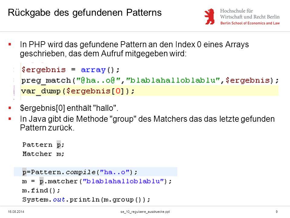 16.08.2014se_10_regulaere_ausdruecke.ppt10 Subpattern