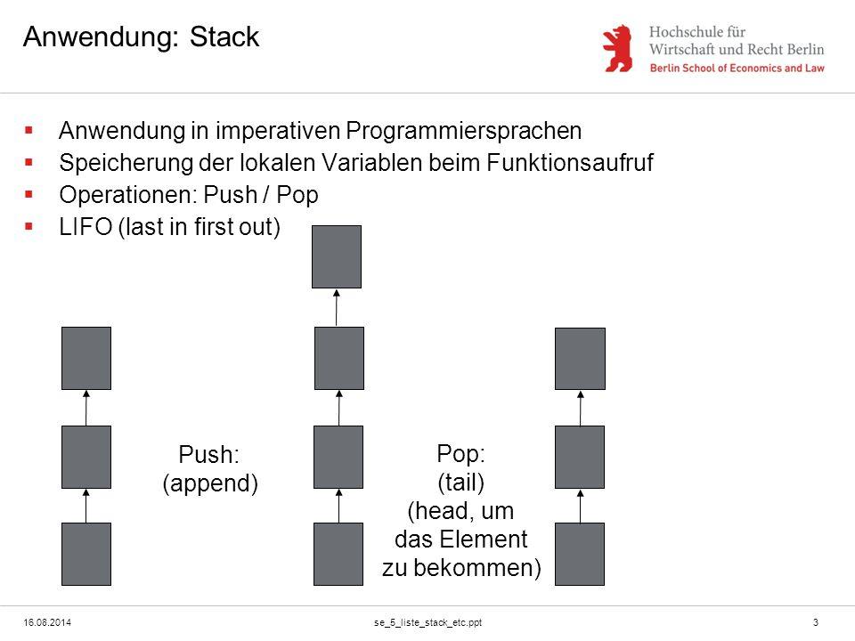 16.08.2014se_5_liste_stack_etc.ppt4 Implementierung  Konstruktoren:  1.) Leere Liste