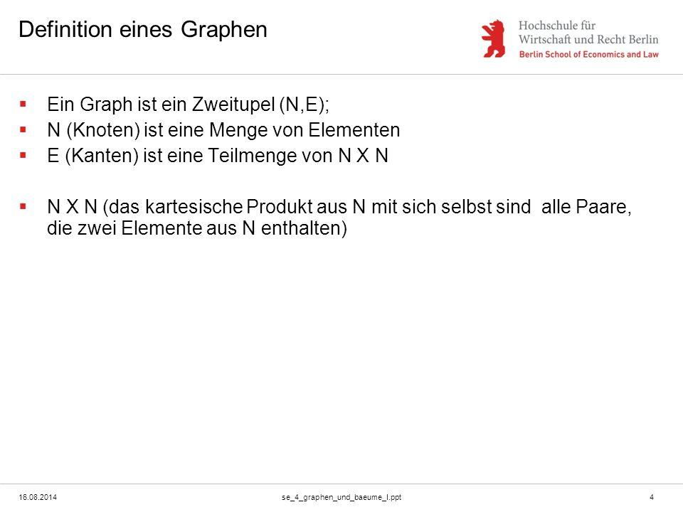 16.08.2014se_4_graphen_und_baeume_I.ppt4 Definition eines Graphen  Ein Graph ist ein Zweitupel (N,E);  N (Knoten) ist eine Menge von Elementen  E (Kanten) ist eine Teilmenge von N X N  N X N (das kartesische Produkt aus N mit sich selbst sind alle Paare, die zwei Elemente aus N enthalten)