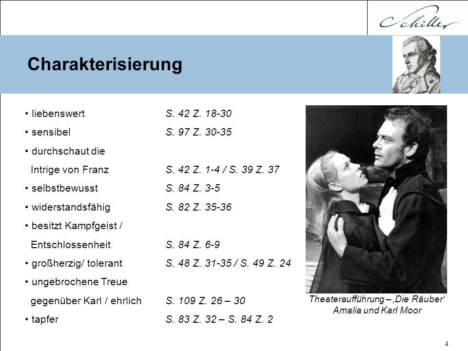4 Charakterisierung Theateraufführung – 'Die Räuber' Amalia und Karl Moor liebenswertS. 42 Z. 18-30 sensibelS. 97 Z. 30-35 durchschaut die Intrige von