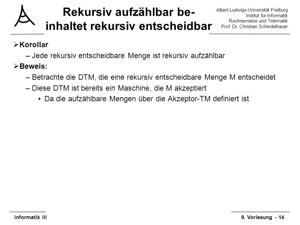Albert-Ludwigs-Universität Freiburg Institut für Informatik Rechnernetze und Telematik Prof. Dr. Christian Schindelhauer Informatik III9. Vorlesung -