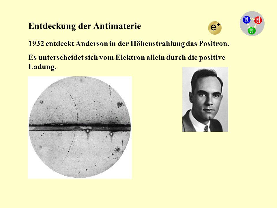 Entdeckung der Antimaterie 1932 entdeckt Anderson in der Höhenstrahlung das Positron. Es unterscheidet sich vom Elektron allein durch die positive Lad