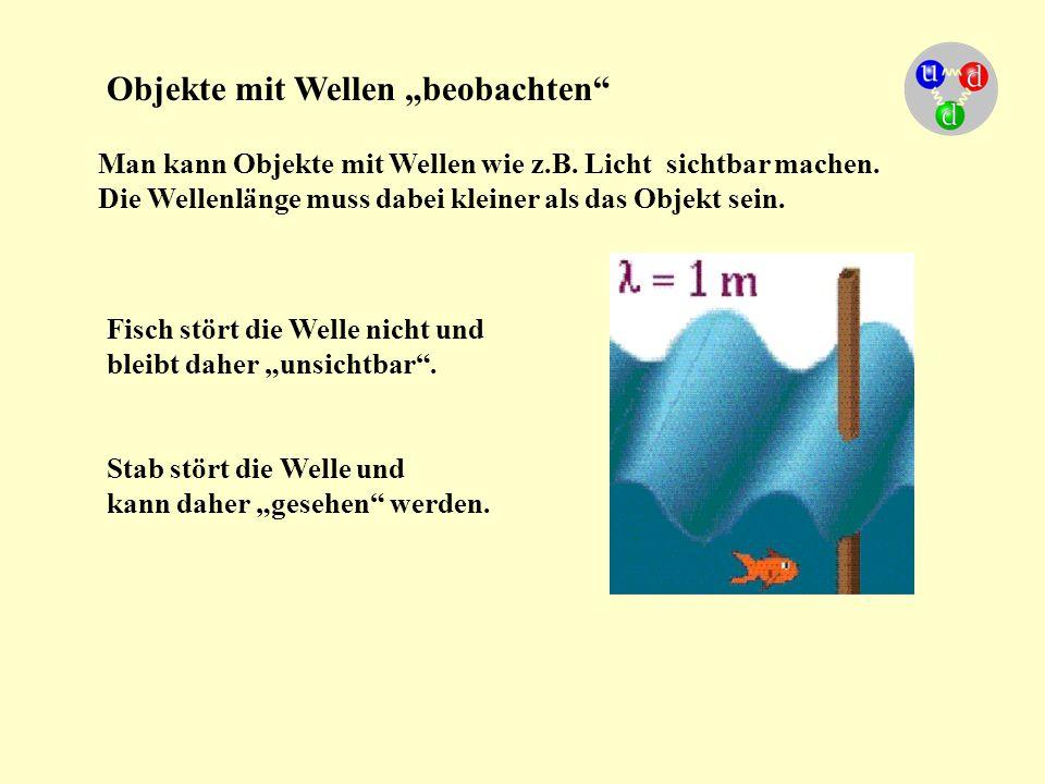 Man kann Objekte mit Wellen wie z.B. Licht sichtbar machen. Die Wellenlänge muss dabei kleiner als das Objekt sein. Fisch stört die Welle nicht und bl